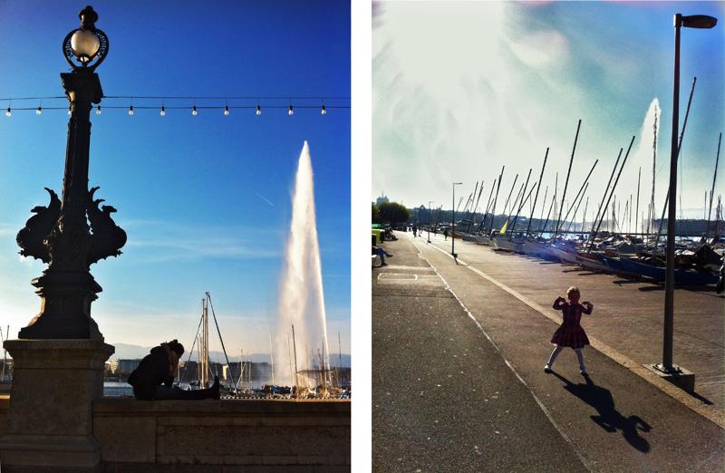 Geneve geneva женева светлина фонтан дете вода сенки