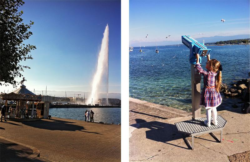 Женева фонтан вода дете светлина