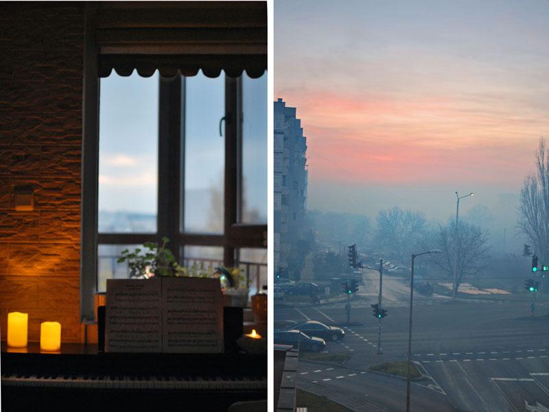 свещи пиано прозорец мъгла